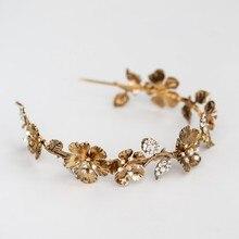 Vintage złoty kwiat kobiety korona diadem dla panny młodej Hairband Handmade Rhinestone na ślub bal akcesoria do włosów