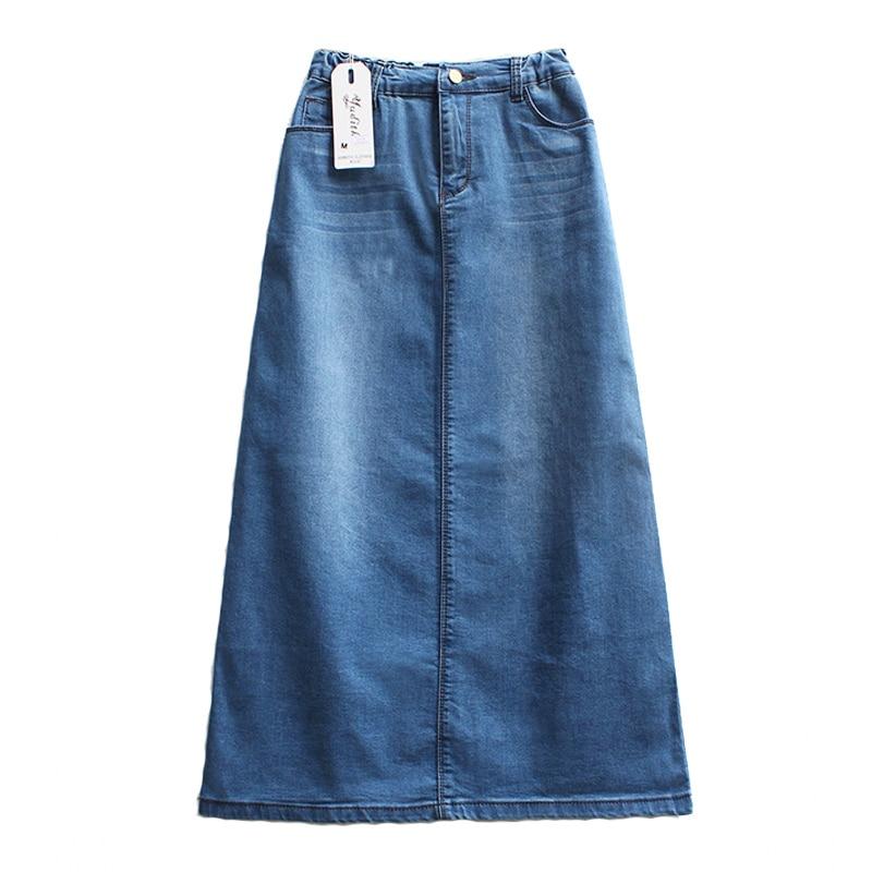 High Quality Women Long Skirt 2020 NEW Korean Ladies Punk Elegant A Line Blue High Waist Denim Skirt WF0002