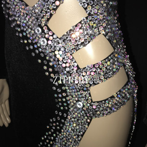 Image 5 - Sexy Silver Stones Black Latin Dance Dress Outfit  Stage Wear Sparkly Rhinestones Costume Birthday prom show Stretch Dress