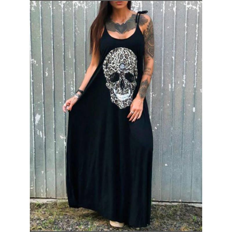 Summer Dresses Women Punk Style Loose Halter Neck Sleeveless Skull Print Female Shirt Dress Street Side High Split Flower Print 23