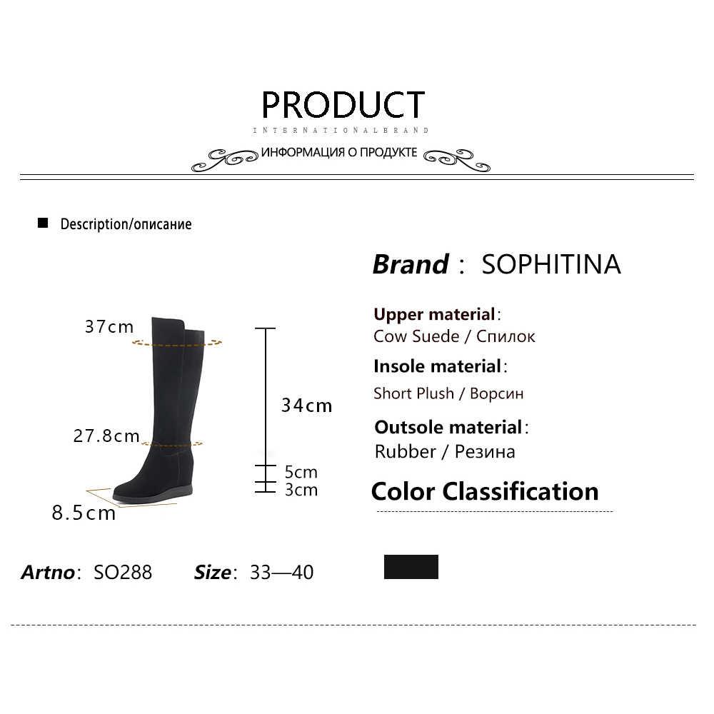 Sophitina Sexy Puntige Neus Laarzen Hoge Kwaliteit Echt Leder Comfortabele Wiggen Solis Vrouwen Schoenen Fashion Design Laarzen SO288