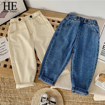 HE Hello Enjoy Kids modne dżinsy 2020 nowe jesienne dziewczyny casualowe spodnie jeansowe chłopcy wiosenne dżinsy legginsy odzież dziecięca 1 6 rok tanie i dobre opinie Na co dzień CN (pochodzenie) Pasuje prawda na wymiar weź swój normalny rozmiar L009091 Elastyczny pas Drukuj skinny