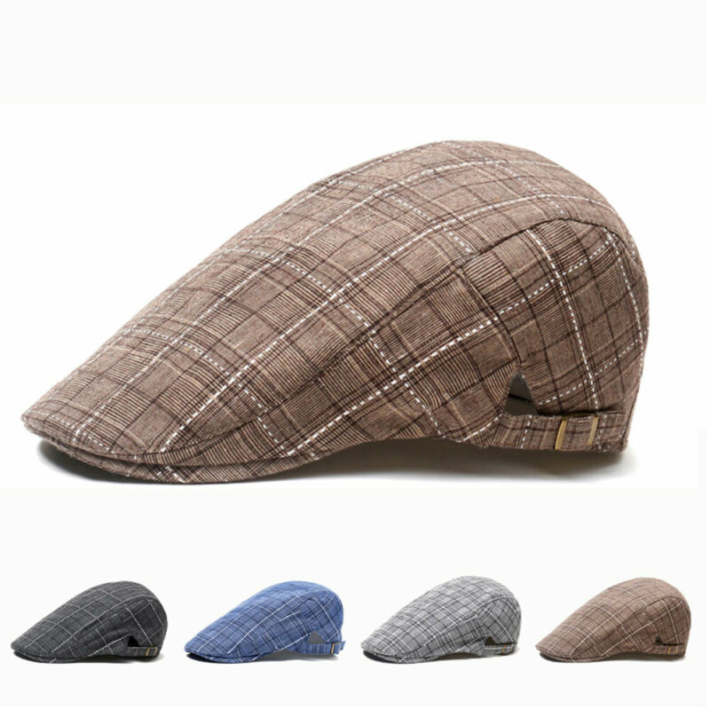 2019 New Tweed Gatsby Newsboy Caps Men Leather Autumn Hat Driving Unisex Berets Hat Button Top Flat Cap