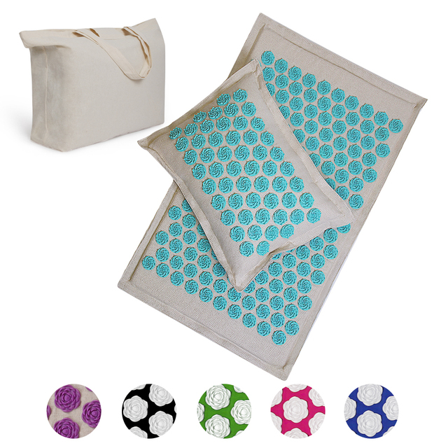 Spike Mat Acupressure Mat, Massage Mat Acupuncture Pillow Set Yoga Mat Needle Relieve Back, Neck and Sciatic Pain, Relax Muscles