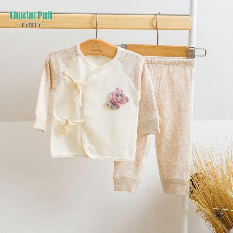 Cotton Heart Shaped Kids Pajamas Newborn Baby Clothing Set Solid Kids Pajamas Baby Bodysuit 2Pcs Newborn Baby Boy Girls Clothes