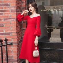 Yigelila Новое поступление длинное красное платье с вырезом