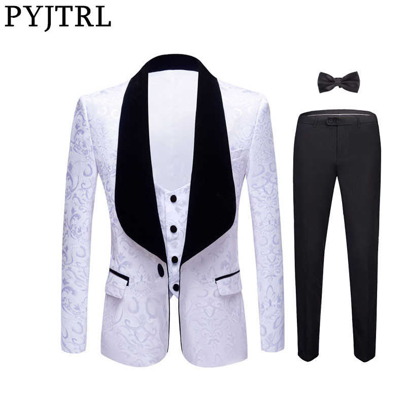 PYJTRL New 4 Pieces Set Wedding Groom Shawl Lapel Jacquard Tuxedo Pink Yellow Black Red Pure White Slim Fit Prom Dress Suits Men