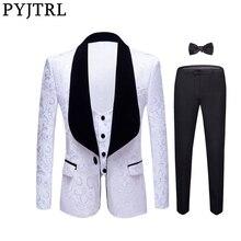 Мужской Жаккардовый смокинг PYJTRL, комплект из 4 предметов, для свадьбы, облегающее платье для выпускного вечера, розового, желтого, черного, красного, чистого, белого цветов