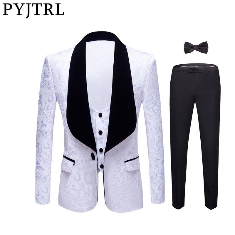 PYJTRL New 4 Pieces Set Wedding Groom Shawl Lapel Jacquard Tuxedo Pink Yellow Black Red Pure White Slim Fit Prom Dress Suits Men
