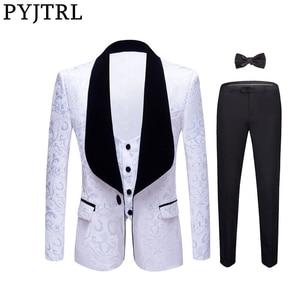 Image 1 - PYJTRL New 4 Pieces Set Wedding Groom Shawl Lapel Jacquard Tuxedo Pink Yellow Black Red Pure White Slim Fit Prom Dress Suits Men