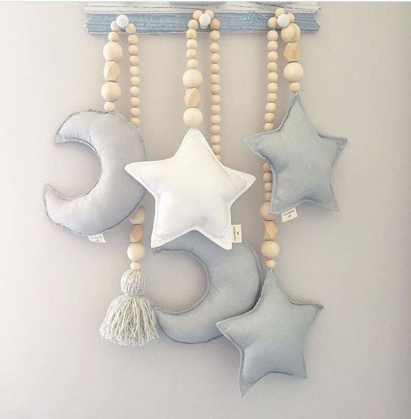 INS Baby Room Decor Nordic Moon Star Beads Hanging Toys Room Decoration Infant Girls Beedroom Crib Tent Babykamer Decorative
