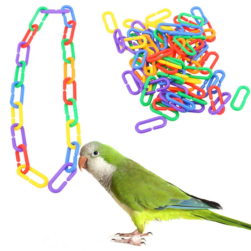 100pc Colorful Pet Bird C-clips Hooks Plastic C-links Glider Parrot Bird Cage Toy Rat Stairs Pet Products for Parrots Parakeets