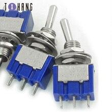 цена на 5pcs Mini Toggle Switch SPDT 6A 125V AC / 3A 250V AC Mini Toggle Switch 3-pin Electronics Compatible Board