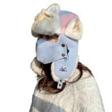 Trapper Hat Earflap-Cap Plush-Lined Trooper Winter Windproof Women Warm with Detachable