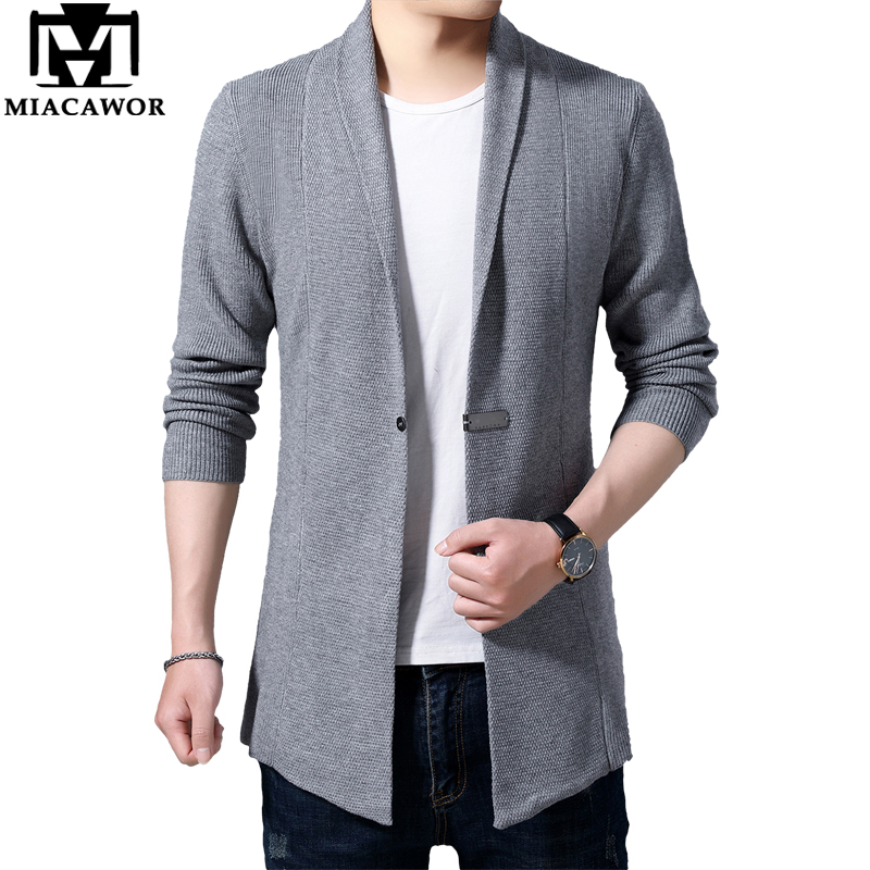 MIACAWOR Sweater Men Metal Button Cardigan Men Autumn Knitted Windbreaker Sweater Coats Slim Fit Pull Homme Dropshipping Y163