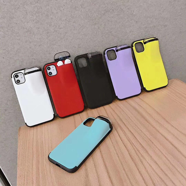 Fashion New design 2in1 phone case For iPhone 11 Pro Max XS Max XR 7 8 6 6S Plus Hard cover with Earphone case For AirPods Case 5