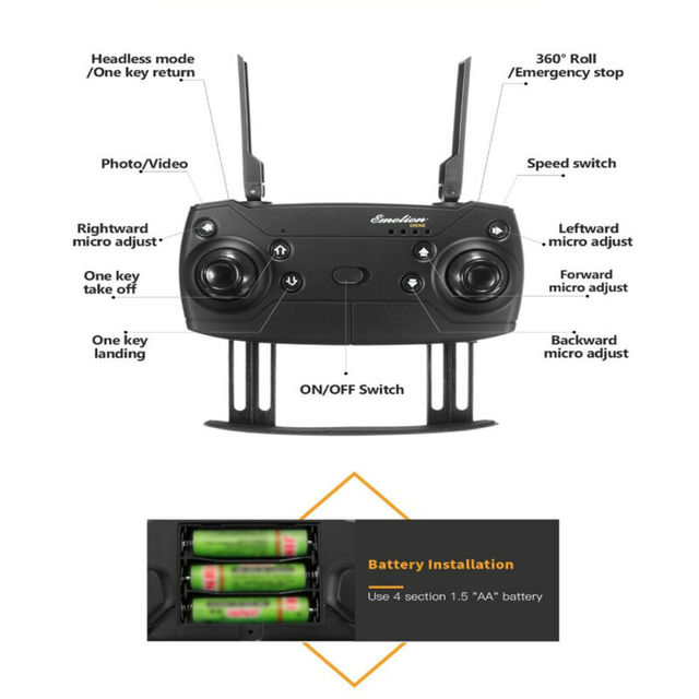 E58 Foldable Drone RC Quadcopter 1080P 5.0MP Camera 2.4GHz WIFI FPV Headless Aircraft Portable Aerial Photography Aircraft 5