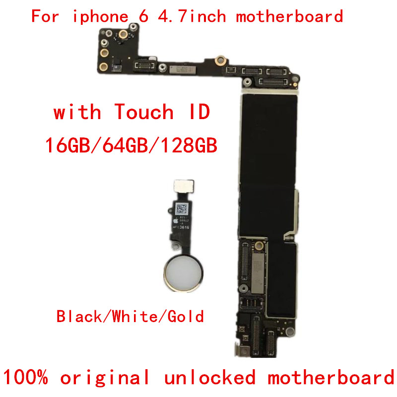 Goods  100% Original unlocked motheboard For iphone 6 16GB with touch ID Logic Board Good Working unlocked