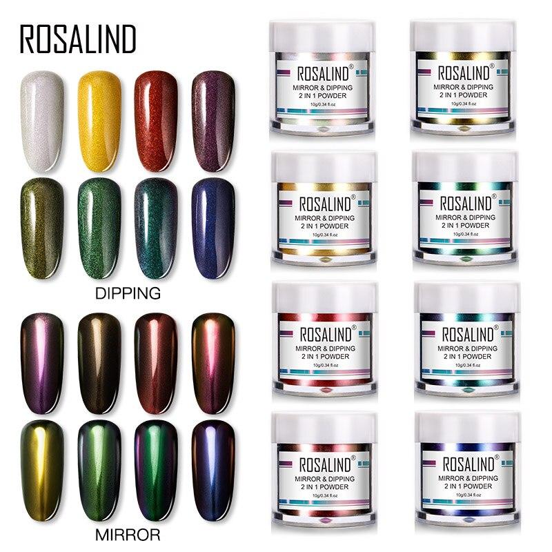 ROSALIND 2 in 1 Tauch Spiegel Pulver Holographische Pulver Glitter Nagel Staub Basis Top Mantel Nagel Kunst Dekoration Pigment Pulver