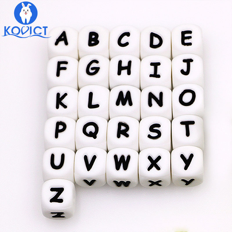 Kovict 10Pcs Silicone English Alphabet Beads Letter BPA Free Material For DIY Baby Teething Necklace Baby Teether
