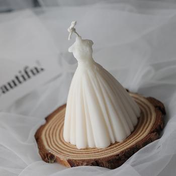 Suknia ślubna formy świec formy silikonowe aromaterapia foremka do mydła do odlewania świec czekoladowe narzędzie do dekoracji ciast tanie i dobre opinie Architektura Silicone Rubber Candle Mold
