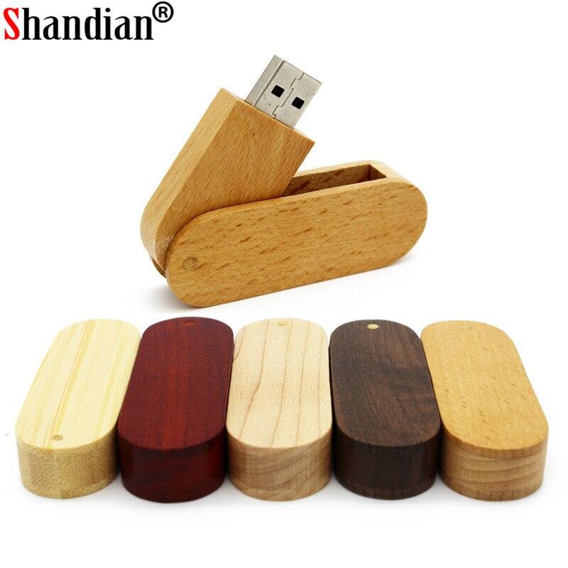 SHANDIAN Promotion USB 2.0 Wooden Bamboo USB Flash Drive Pen Driver Wood Pendrive 4GB 8GB 16GB 32GB 64GB USB Free Custom Logo
