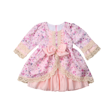 Cute Kids Baby Girls Princess Formal Dress Floral Lace Bowknot Ruffles Dress Birthday Wedding Party Dress Girl Ball Gown 1-6Y girls floral flowers appliques ball gown dress children cute mesh net yarn birthday party princess dress kids dress clothes