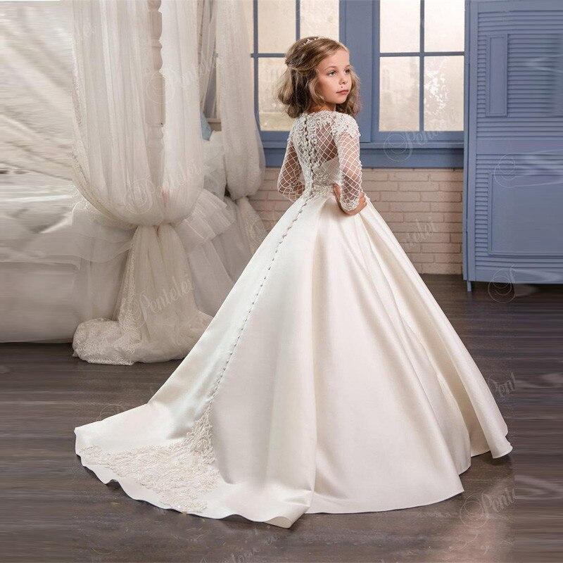 White Flower Girl Dresses For Weddings Banquet Dress Girl Beaded Birthday First Communion Dresses Petals Long Sleeves Ball Gown