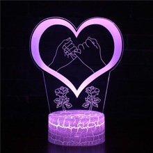 День Святого Валентина Любовь Сердце быть занятым 3D лампа светодиодный USB креативный 3d Ночной светильник 7 цветов Изменение акрилового дистанционного сенсорного переключателя лампа