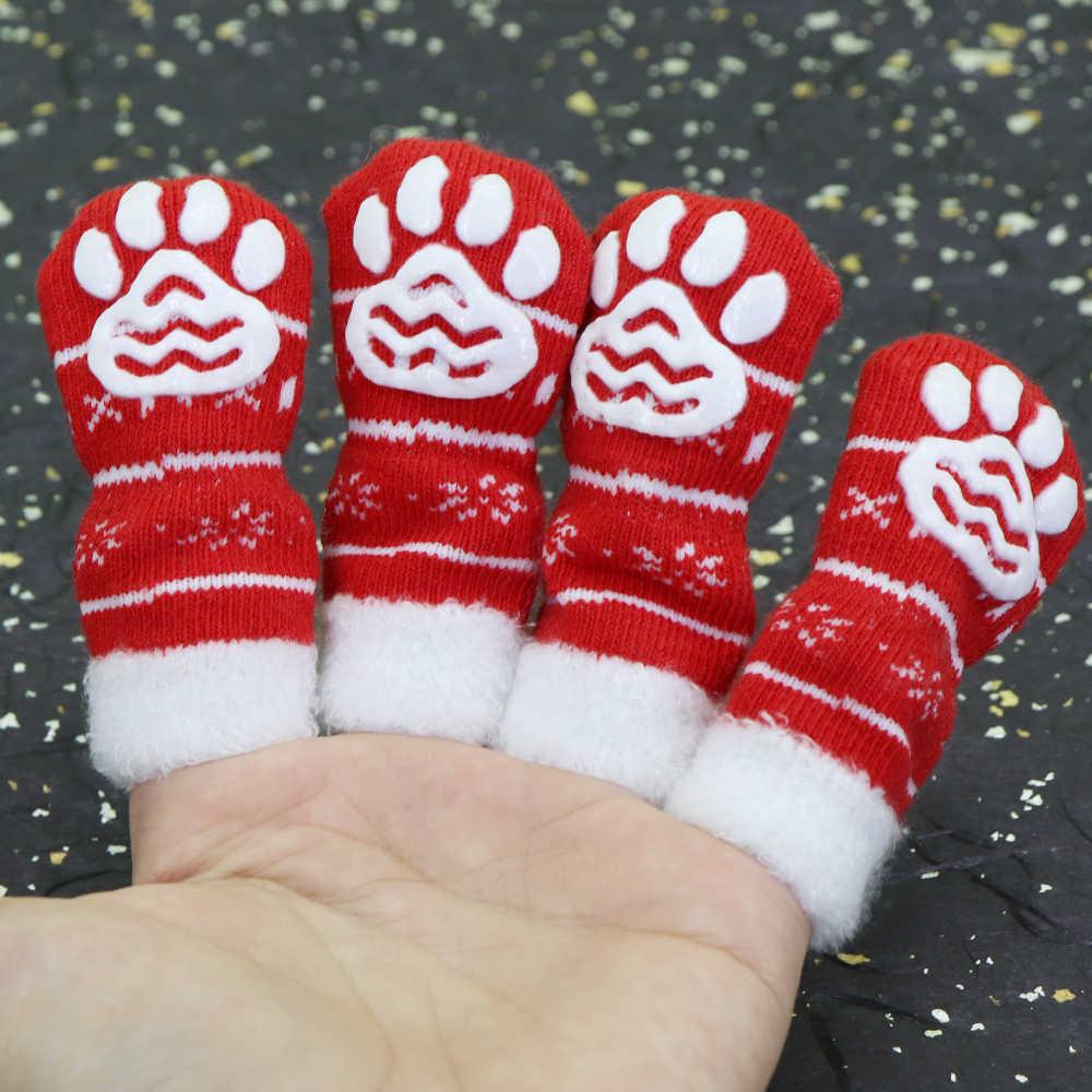 Leuke Kerst Hond Kat Schoenen Anti-slip Puppy Sokken Voor Kerst Warm Honden Gebreide Sokken Sneeuwvlok Print Katten Honden schoenen Laarzen