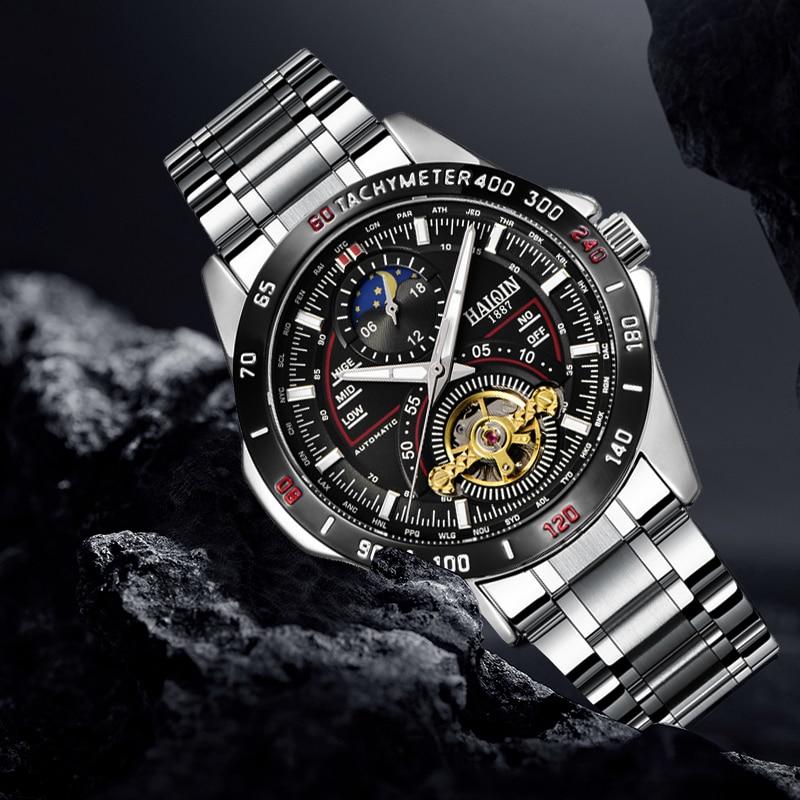 HAIQIN Military Tourbillon Mens Watches Top Brand Luxury Sport Watch Men Mechanical Waterproof Wristwatch Mens Reloj Hombre 2019