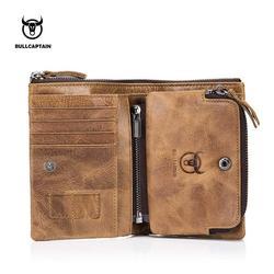 BULLCAPTAIN Genuine Cowhide  Men Wallet Short Coin Purse Small Vintage Wallet Brand High Quality Designer New Short Wallet 07