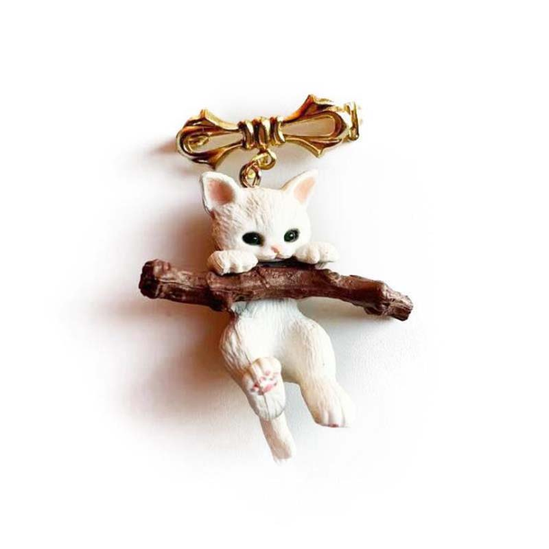 Cat Brooch Naughty Best-Gift Christmas Cute Animal Unisex with Branch-Play Branch-Play