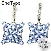 32x18mm 6.5g Pretty Created Rich Blue Violet Tanzanite Aquamarine CZ Womans Silver Earrings