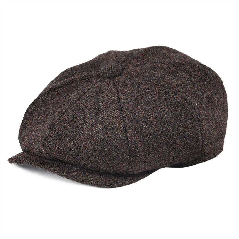 BOTVELA 50% Wool Tweed Newsboy Cap For Men Women Herringbone 8 Panel Apple Caps Cabbies Hat Woolen Headpiece Beret Hats 005