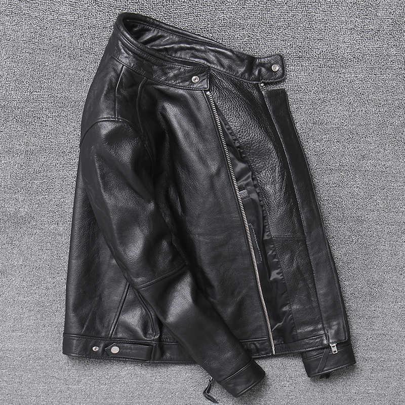 정품 가죽 자켓 남자 의류 2020 쇠가죽 채찍으로 치다 코트 오토바이 진짜 암소 가죽 자켓 봄 가을 코트 094Hei KJ3192