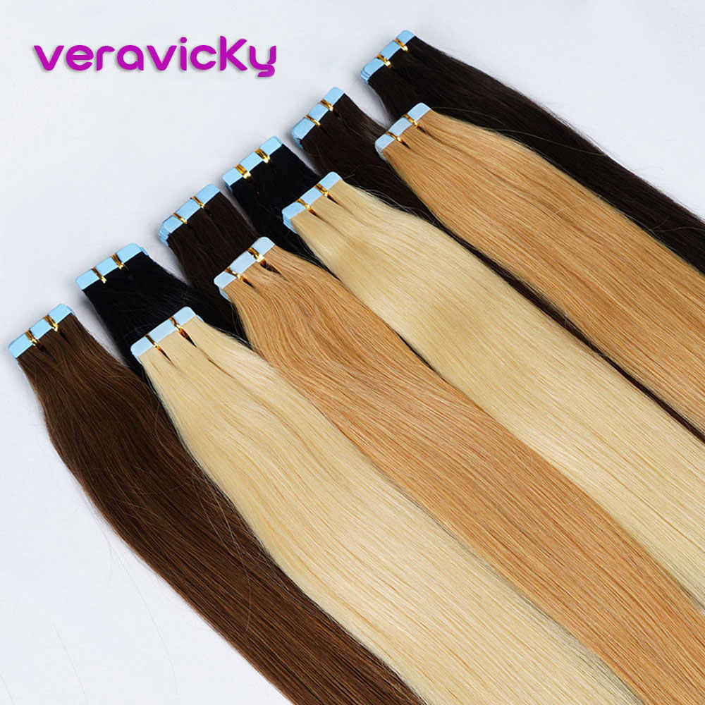 Tape in Human Hair Extensions Natural Real Hair 20/40pcs Machine-made Remy on Double Tape Adhesive Human Hair Extensions