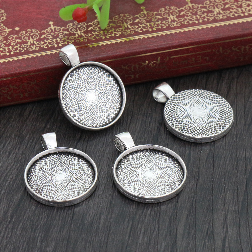 10pcs 20mm Inner Size Antique Silver Plated Classic Style Cabochon Base Setting Charms Pendant (D2-39)