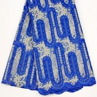 Organza Royal Blue Lace Gown Dress Fabric Men Women Asoebi Lace Fabric For African Wedding Evening Dresses
