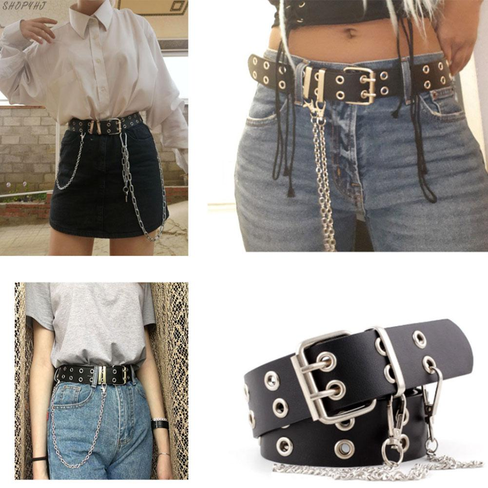 Fashion Belt Adjustable Double/Single Row Hole Eyelet Waistband With Eyelet Chain Decorative Belts New Women Punk Chain