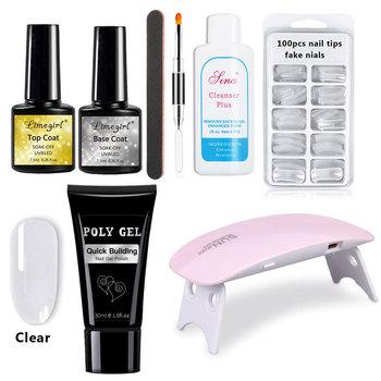 30g Polygel Kits 6Colors Builder Poly Gel Set UVLamp Fast Dry Nail Art Design Nail Extension Natural Hard Jelly Acrylic Gel Set