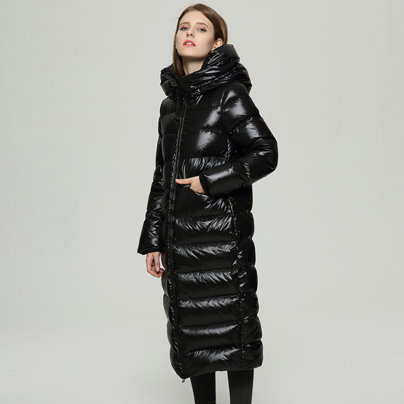90% White Duck   Down   Jacket Hooded 2019 Long Black   Down     Coat   Women Warm Thick Plus Size Waterproof Snow Outwear Puffer Jacket