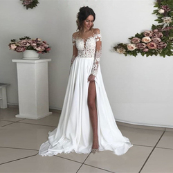 Свадебные платья Бохо с длинными рукавами, шифоновый вырез с аппликацией, свадебные платья с разрезами по бокам, сексуальные пляжные свадеб...