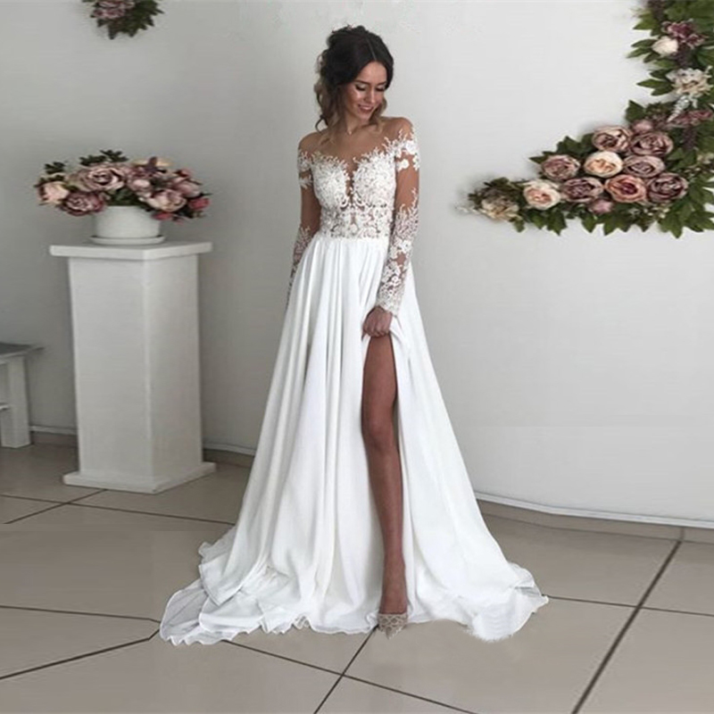Long Sleeves Boho Wedding Dresses Sheer Neck Appliques Chiffon Side Slit Bridal Dresses Sexy Beach Bohemian Wedding Gowns