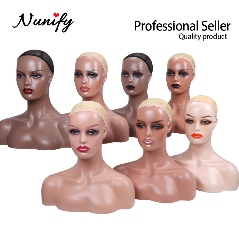Mannequin Head With Shoulders Nunify Different Makeup Wigs Wig Caps Hat Display Manikin Head With Bust Salon Beautiful Stand