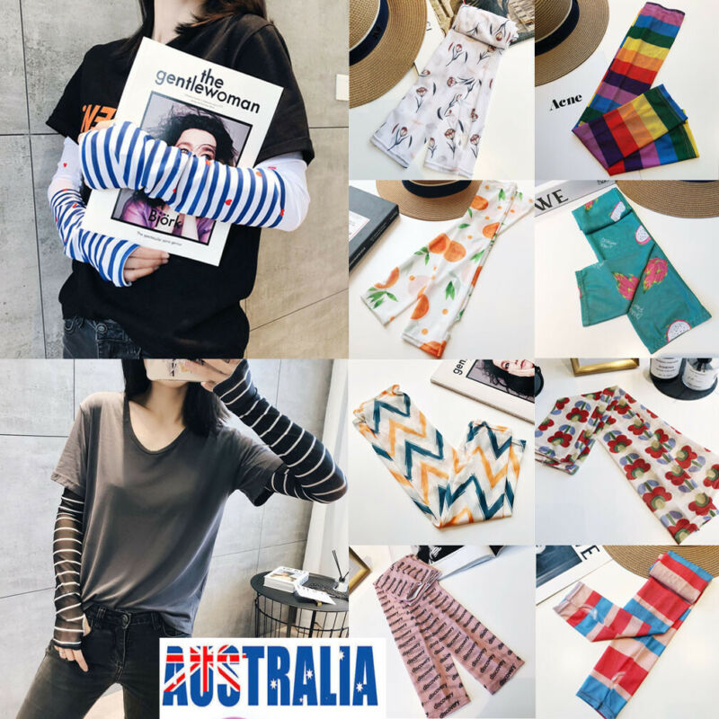 New 2 Pairs Cooling Sport Arm Warmer Striped Print Women Stretch Sleeves Sun UV Protection Covers Golf Cycling Adult