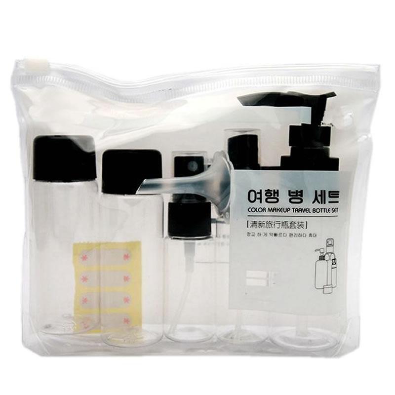 7pcs/lot Travel Accessories Bottle Portable Makeup Cosmetic Face Cream Pot Bottles Transparent Plastic Empty Organizer Container