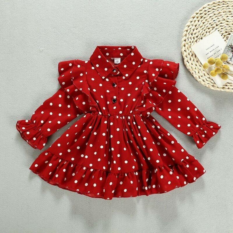 PUDCOCO Christmas Toddler Kid Baby Girl Clothes Ruffle Swing Dress Polka Dots Party Dresses 1-7Y