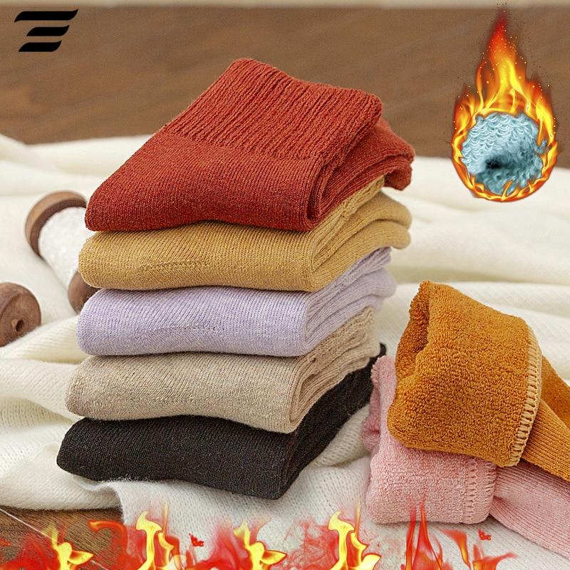 1pair New Winter Thick Warm Wool Terry Towel Women Sock Vintage Christmas Soild Socks Colorful Socks Gift Free Size Cute Sokken