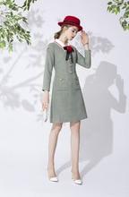 Europe&America womens autumn dress 2019 Fall runways Women high quality bowtie plaid wool tweed A948